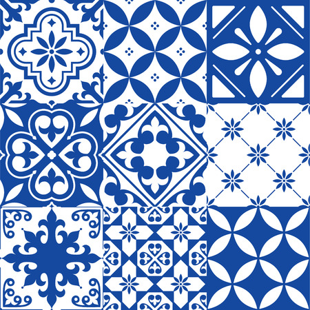 surface: Spanish tiles, Moroccan tiles design, seamless navy blue pattern