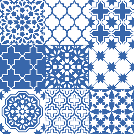 surface: Moroccan tiles design, seamless navy blue pattern collections Illustration