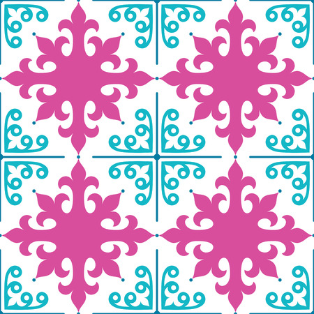 repetition: Spanish tiles pattern, Moroccan and Portuguese tile seamless design in pink and turquoise  - Azulejo Illustration
