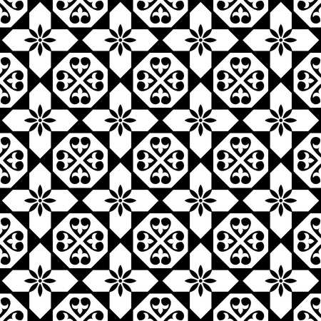 interior decoration: Spanish tiles pattern, Moroccan and Portuguese tile seamless design in black and white - Azulejo