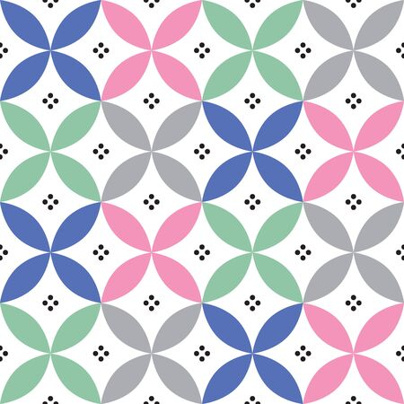 repetition: Geometric seamless pattern in pastel colours - inspired by Spanish and Portuguese tiles design. Illustration