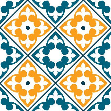 Spanish or Portuguese azulejo design; and Moroccan design. Seamless in dark green and orange. Illustration