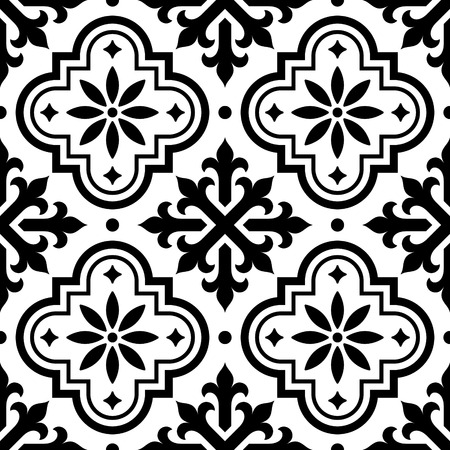 repetition: Spanish azulejo design and Moroccan tiles design; seamless black and white background. Illustration