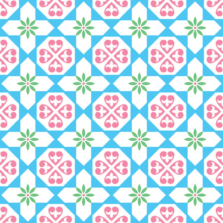 Spanish and Portugese azulejo pattern; Moroccan tile seamless pattern. Illustration