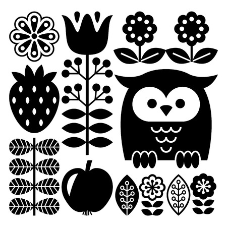 traditional pattern: Finnish inspired folk art pattern in black - Scandinavian, Nordic style