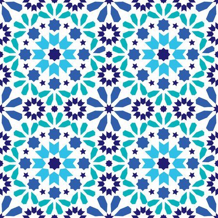 modern interior: Geometric seamless pattern, Moroccan tiles design, seamless blue and turquoise tile background Illustration
