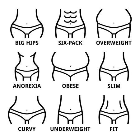 Forma del cuerpo femenino - ajuste, caderas grandes, obesidad, sobrepeso, adelgazamiento, anorexia, paquete de seis, obesidad, grasa, curvas Ilustración de vector