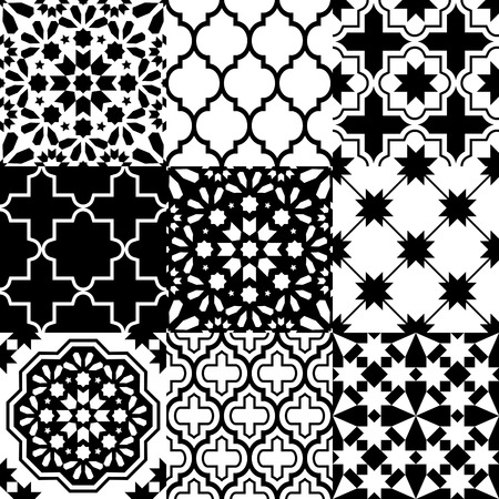 traditional pattern: Moroccan tiles design, seamless black pattern collections