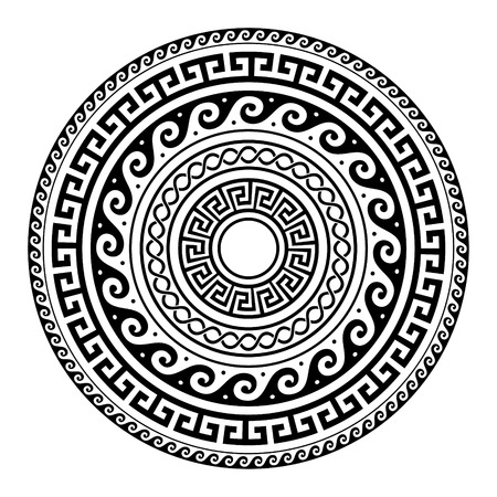 Ancient Greek round key pattern - meander art, mandala black shape
