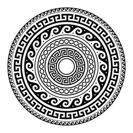 Ancient Greek round key pattern - meander art, mandala black shape