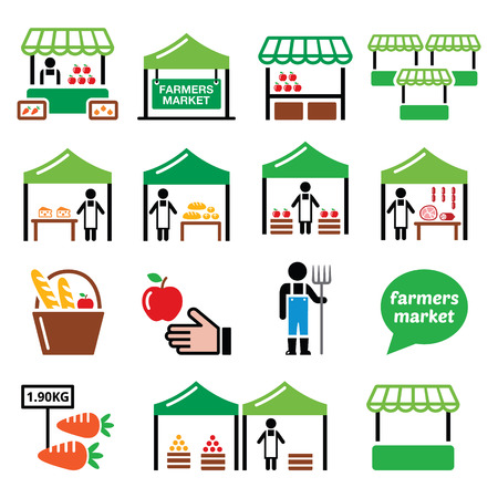 food: Farmers market, food market with fresh local produce icons set