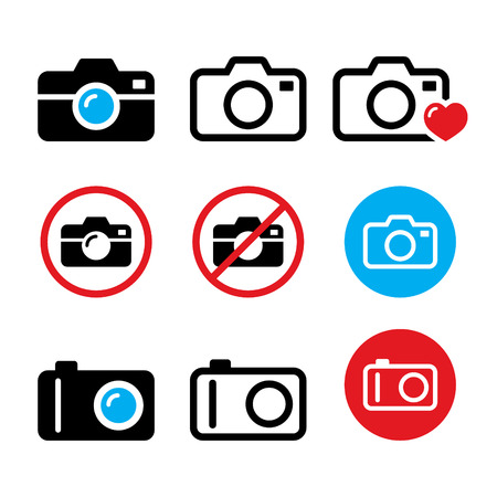 shutter aperture: Camera, taking photos, no camera sign vector icons set. Illustration