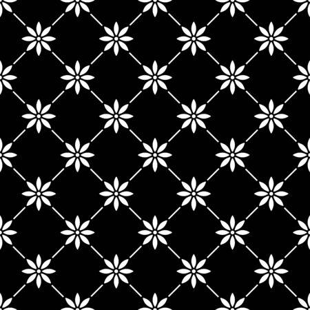 interior decoration: Geometric seamless white pattern in with flowers on black background.