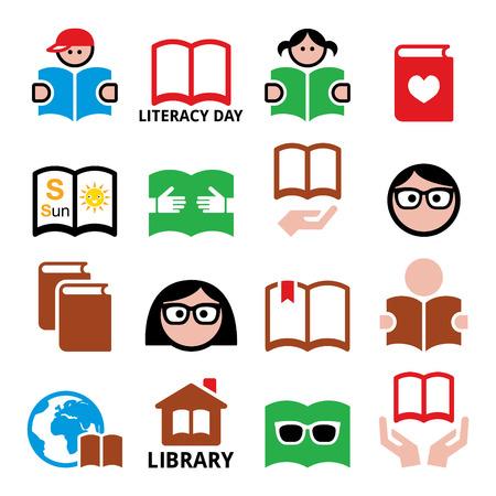 Enfants et adultes lisant des livres, icônes de la Journée internationale de l'alphabétisation