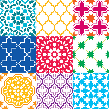 Moroccan tiles design, seamless geometric pattern collections in blue, green, red, orange, navy blue