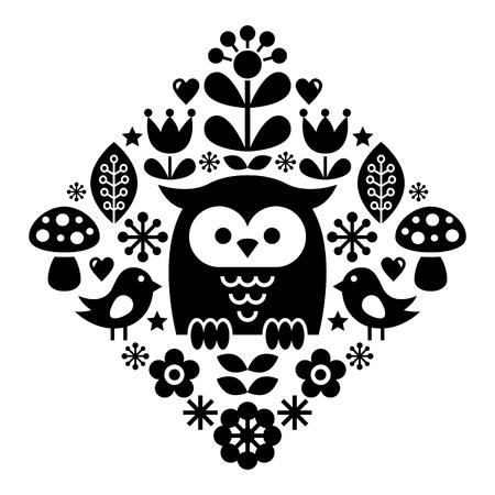 Scandinavian pattern, Nordic folk art - inspired by traditional Finnish and Swedish designs
