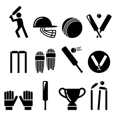 competitions: Cricket bat, man playing cricket, cricket equipment - sport icons set