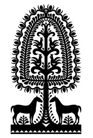 souvenir traditional: Polish folk art pattern Wycinanki Kurpiowskie in black Illustration