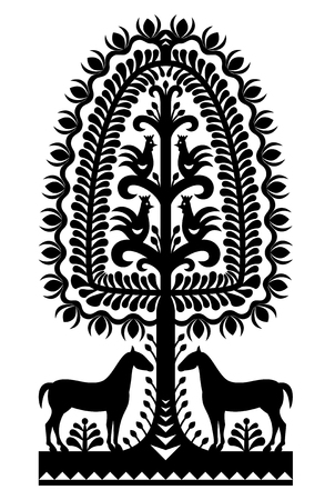 Polish folk art pattern Wycinanki Kurpiowskie in black Illustration