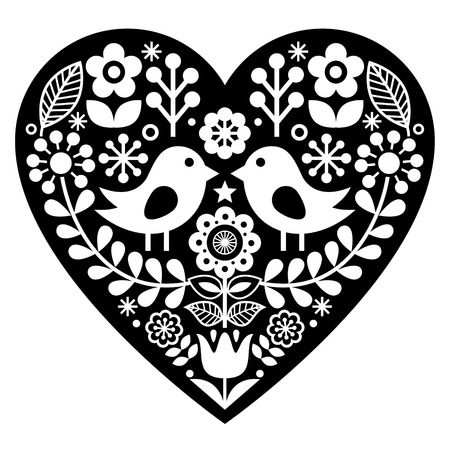 Scandinavian black folk art pattern with birds and flowers -  Valentines Day, love concept Illustration