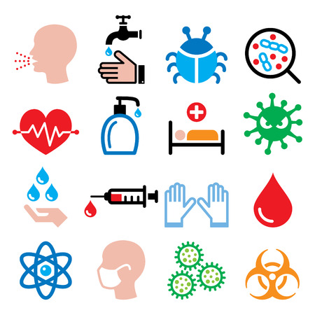 Infection, virus, sickness, getting flu - health icons set Vectores