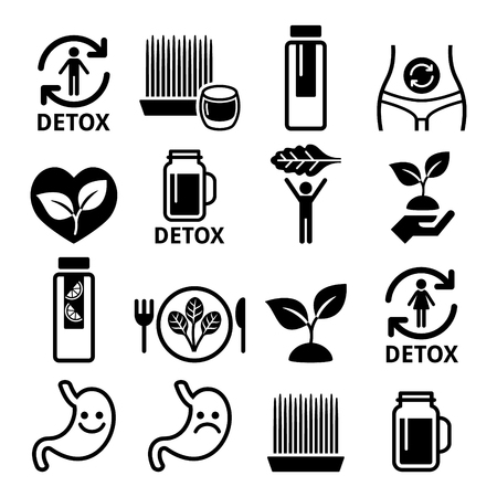 Detox, body cleaning with juices, vegetables or diet icons set Vectores