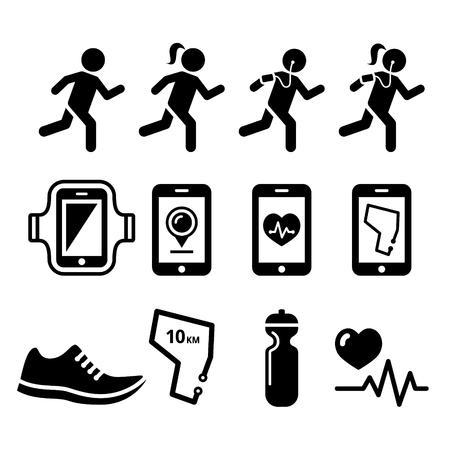 girl: Jogging, people running, jogging apps icons set