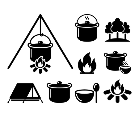 woodpile: Cooking over a fire, campfire cooking, hike icons set