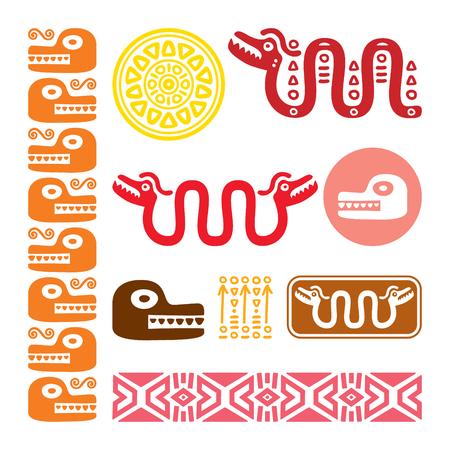 Aztec animals, Mayan snake, ancient Mexican design set.