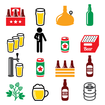 dark: Beer, brewery, drinking alcohol in pub vector icons set.