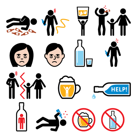 Alcoholism, drunk man, alcohol addiction icons Çizim