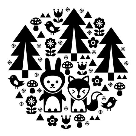 lapin: Motif mignon d'art populaire rond scandinave en noir - inspiré finlandais, style nordique