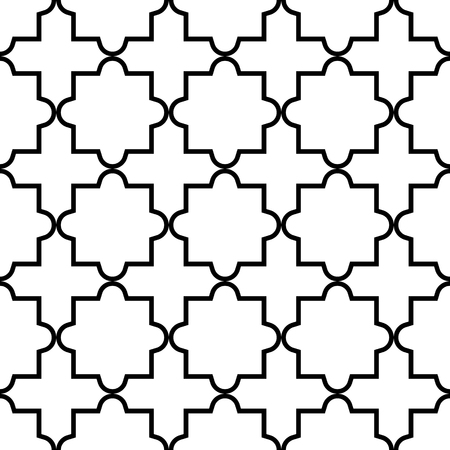 traditional: Geometric seamless pattern, Moroccan tiles design, black and white background