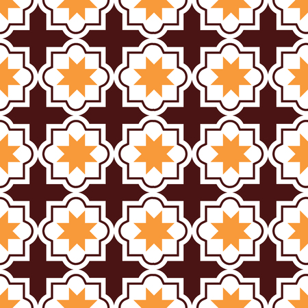 tile: Moroccan tiles design, seamless brown and orange pattern, geometric background