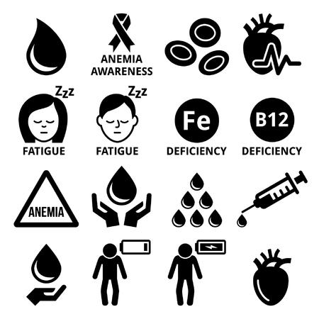 people icon: Blood, anemia, human health icons set