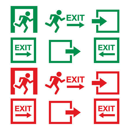 way out: Emergency exit sign, warning icons vector set in green and red