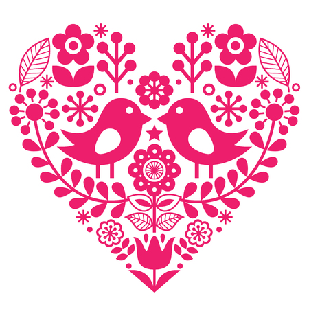 Scandinavian folk pattern with birds and flowers - pink design, Finnish inspired - Valentines Day or birthday card