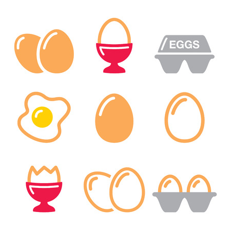 raw egg: Eggs icons, fried egg, egg box - breakfast icons set Illustration