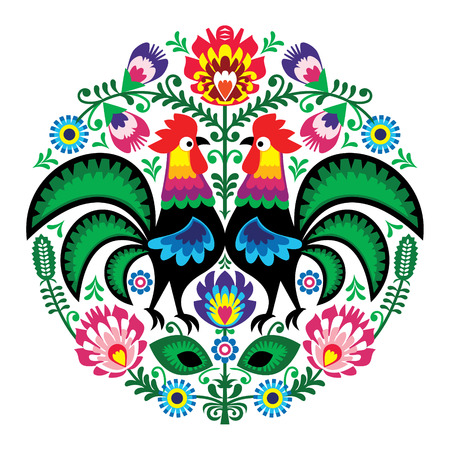 Polish folk art floral embroidery with roosters, traditional pattern - Wycinanki Lowickie