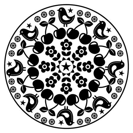 traditional culture: Finnish inspired round folk art pattern - black design Scandinavian, Nordic style