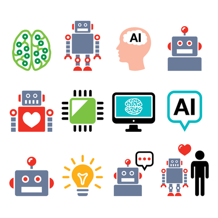 people icon: Robot, Artificial Intelligence (AI), cyborg icons set