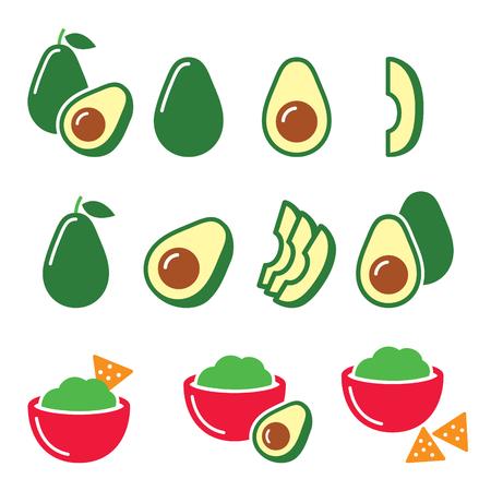 ripe: Avocado cut in half, fruit, guacamole with nachos icons set