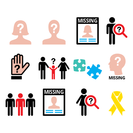 Missing people - man and woman, missing children icons set