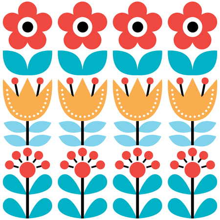 european: Scandinavian seamless pattern, Swedish folk art design, retro floral background