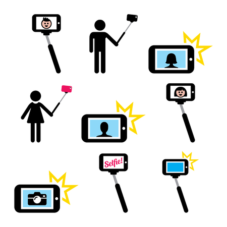 lady on phone: Selfie stick with mobile or cell phone icons set Illustration