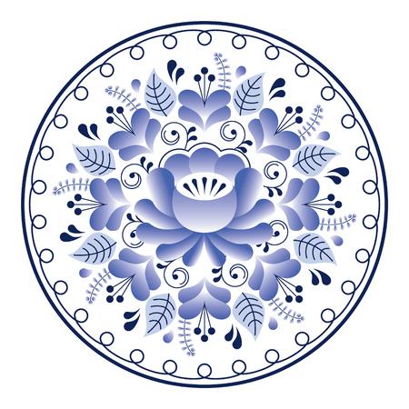traditional culture: Russian folk art pattern - Gzhel ceramics style, blue floral design