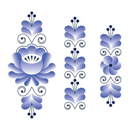 pattern: Russian folk art pattern - Gzhel ceramics style, blue floral stripes