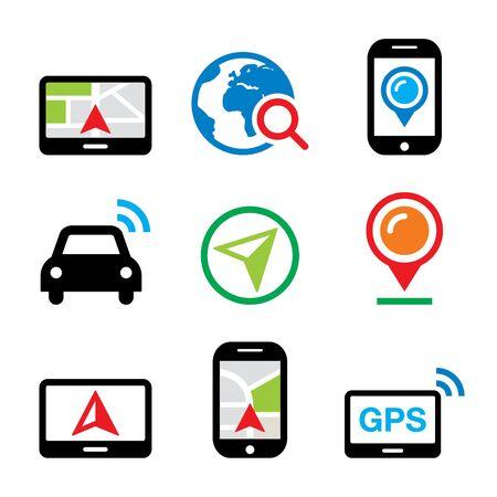 mobile phone icon: GPS, car navigation, travel vector icons set