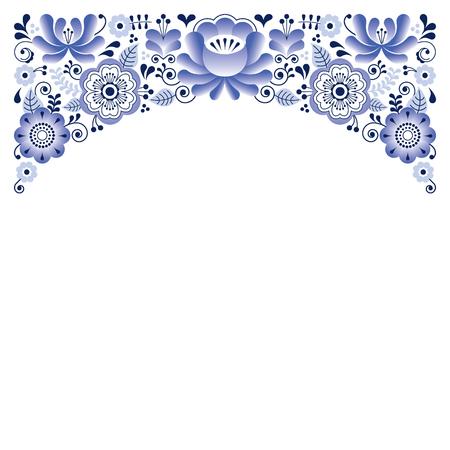 fashion: Russian floral ornament, Gzhel style - wedding invitation, greetings card