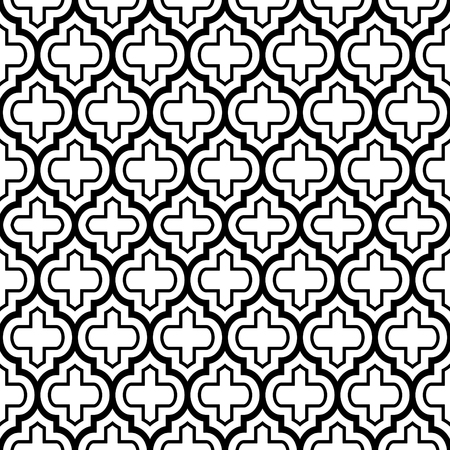 repetition: Geometric seamless pattern, Moroccan tile design, black backdrop. Illustration